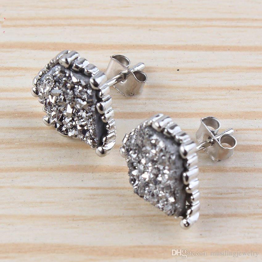Musiling Takı Doğal Kristal Druzy Küpe Düzensiz Şekil Damızlık Küpe Gümüş Kaplama Takılar Kadınlar Için Kulak Aksesuarları Takı