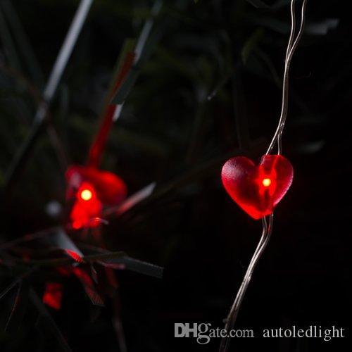 luci a stringa a led a forma di cuore 2m 20 LED Cavo sommergibile a forma di cuore Luci a forma di batteria Luci di fiabe Decorazione di nozze