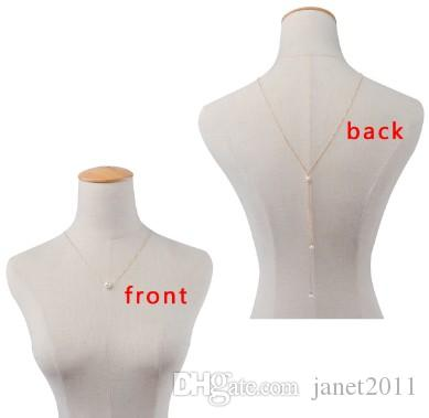 Sexy Womens Back Body Chain Faux Pearl Gold /Silver Filled Back Necklaces Wedding Dress Necklaces