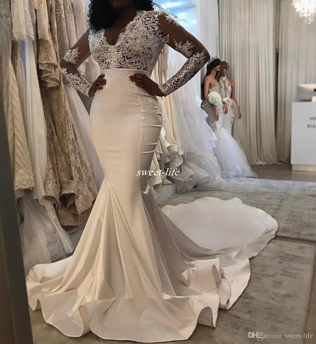 Modest plus size mermaid wedding dresses with illusion for Www dhgate com wedding dresses