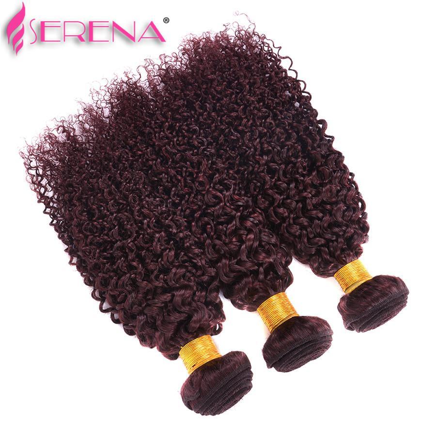 cabelo vermelho vinho weave 99J Burgundy peruana Kinky Curly cabelo humano Pacotes Kinky Curly Virgens extensões de cabelo peruanas Weaves 10 '' - 30 ''