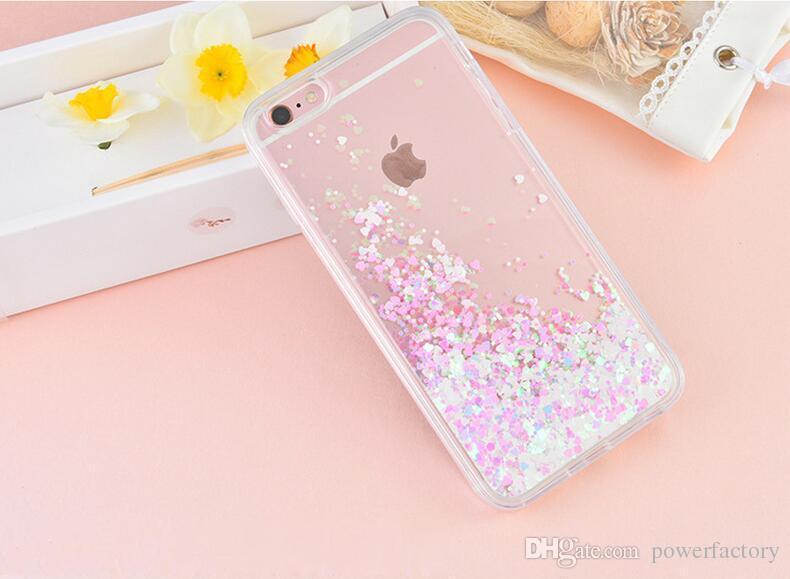 Bling Coração Brilho Líquido Sparkle Soft Bumper Case Capa Para Iphone 7 6 S 6 Plus
