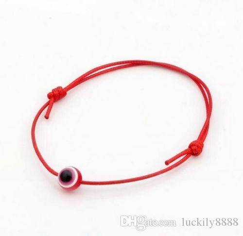 Free Ship bead String Evil Eye charms Lucky Red wax Cord Adjustable Bracelet