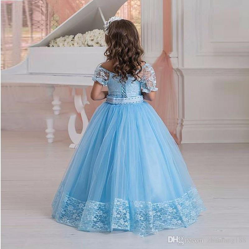 2019 New Elegant Flower Girl Pageant Dresse Boat Neck Princess Prom Dress Vestido Blue Lace Floor Length Party Dress for Girls