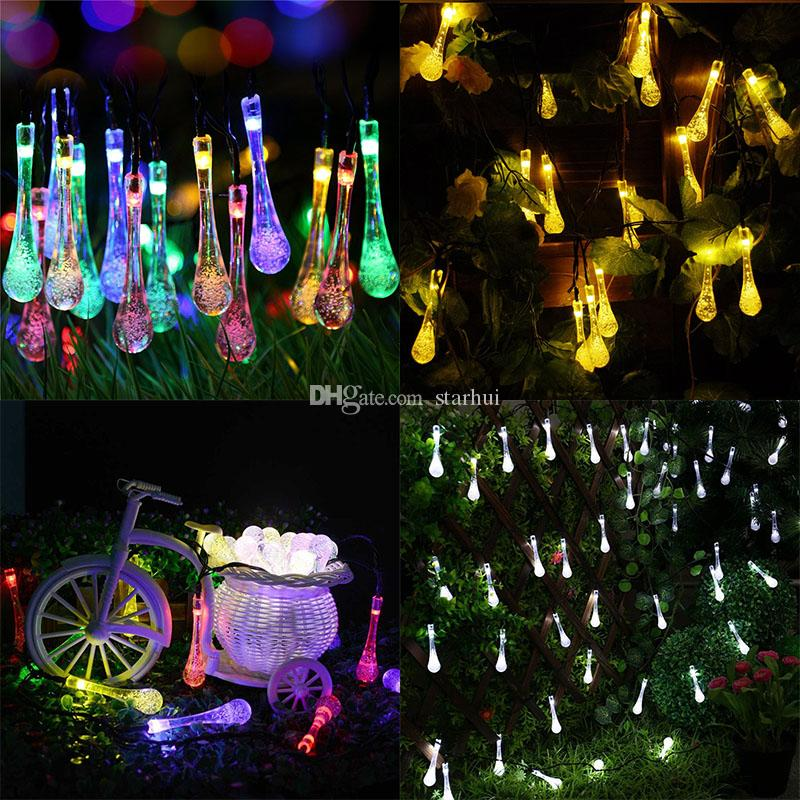 Best New Led Water Drop Solar Powered Light Halloween Christmas Decorations 30 Lights Home Outdoor Garden Patio Party Holiday Supplies Wx9  21