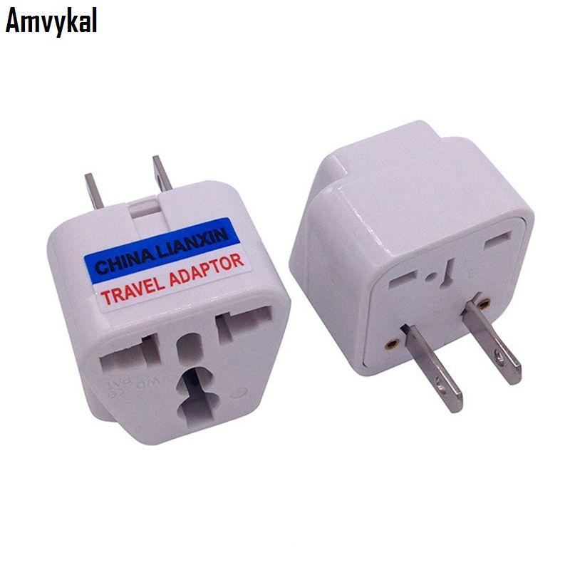 Amvykal LX-6 CE Certification Universal UK AU EU To US Plug Adapter Socket Converter 2 Pins USA Travel Electrical Plug Adaptor