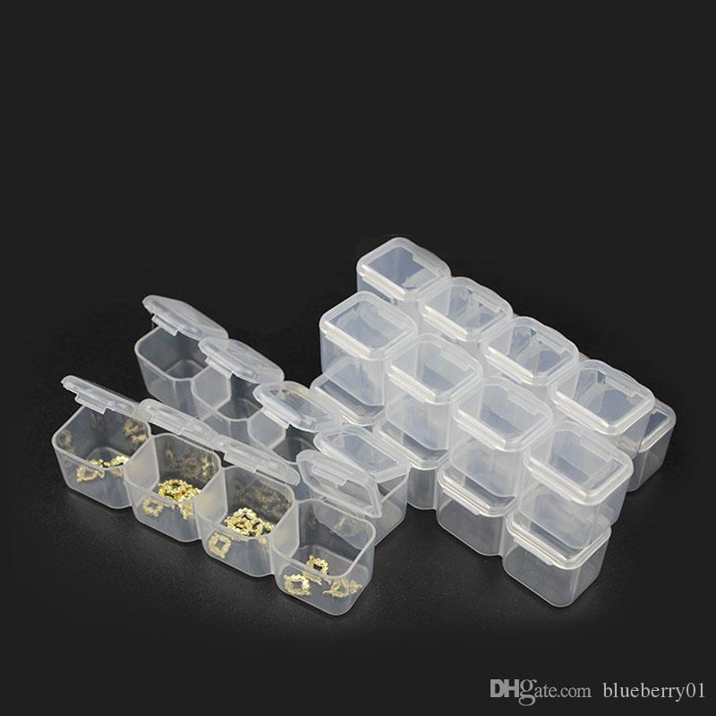 Plástico transparente Dividido Caja de almacenamiento 24/28 Rejilla Joyería Rhinestone Abalorio Caja Decoración Accesorios Accesorio Titular de contenedor