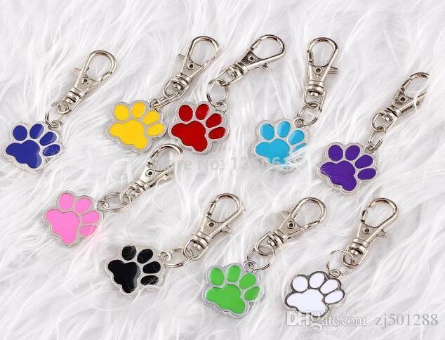 Vintage Silber Emaille Hund Palm Print Keychain Haustier Hund Katze ID Card Tags für Schlüssel Autotasche Schlüsselanhänger Handtasche paar Designer Schlüsselanhänger Schmuck