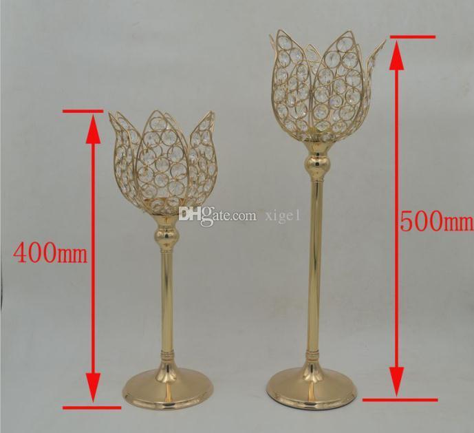 20 teile / los Kristall Metall Boden Kerzenhalter Gold / Silber Hochzeit Tisch Kandelaber Für Hochzeit Kandelaber Herzstück Dekor