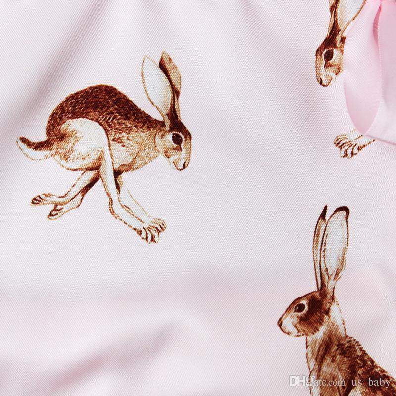 الطفل بنات عيد الفصح الأرنب ملابس بنات مطبوعة الرسن العودة ارتداءها مع العصابة مجموعة الوليد لربيع وصيف الزي صور الدعائم