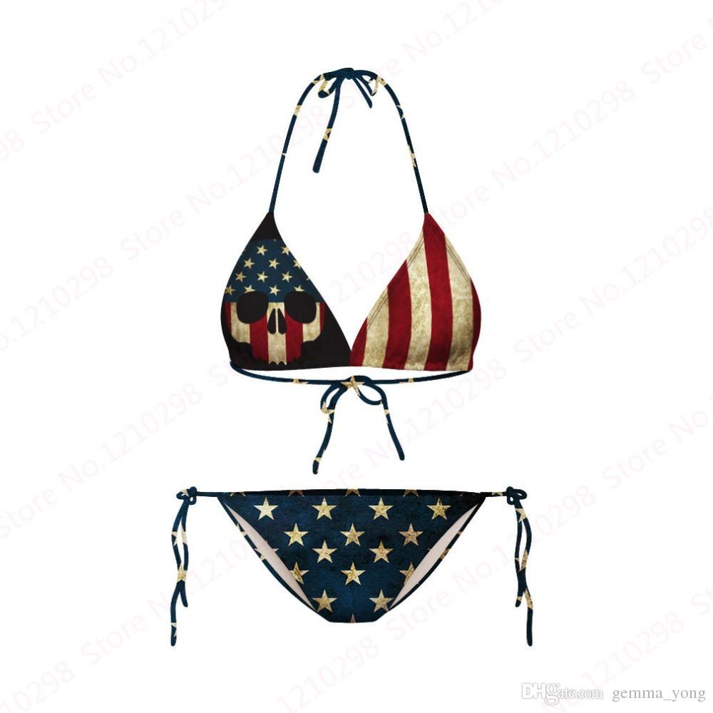 Bikini Vintage Set Bandiera USA Stella a righe Strisce Bandiera americana Bikini da spiaggia Due pezzi Fasciatura Retro Costumi da bagno stampati economici