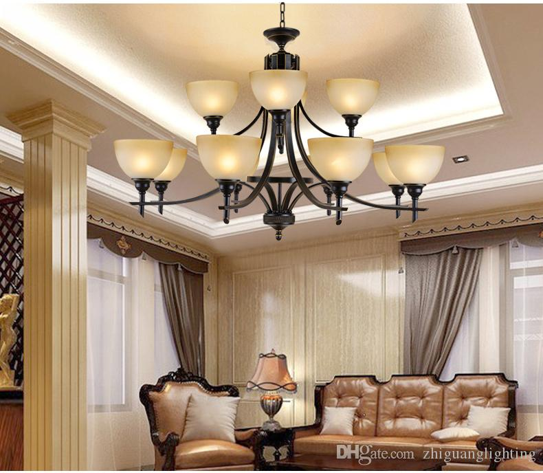 Old Bronze chandliers for foyer room Antique Bronze 6-light Crystal and Dark Bronze Finish Iron Chandelier classic chandelier