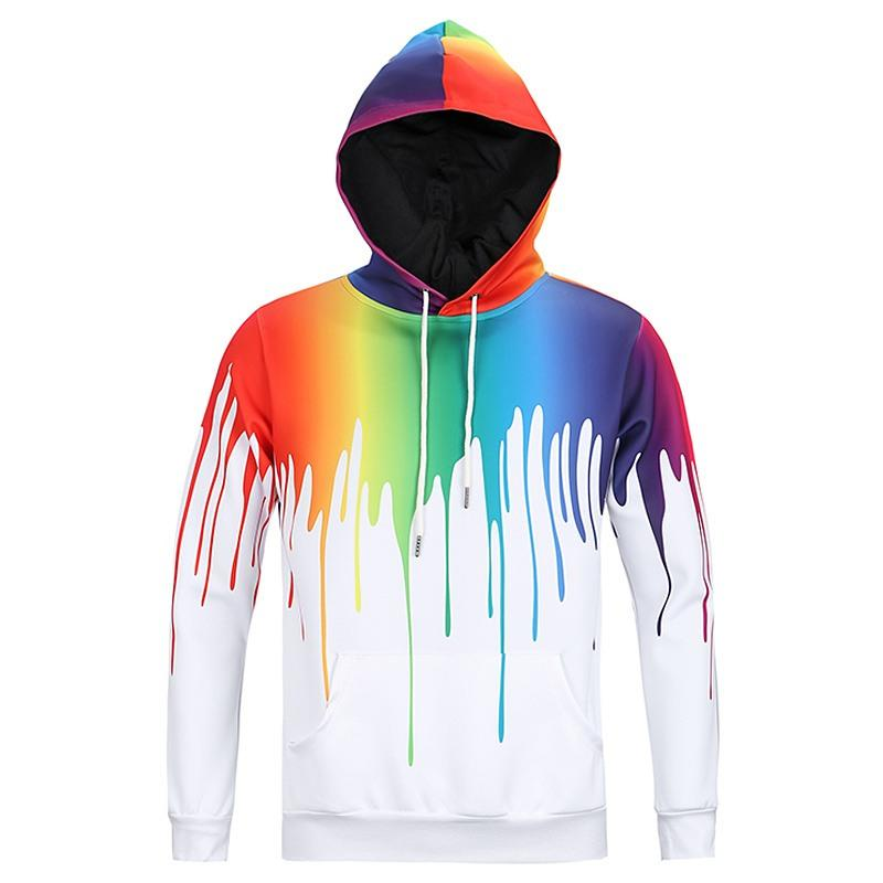 4c6eb023eeb 2019 Wholesale Plus Size M 3XL Fashion 3D Hoodie Rainbow Drips Print Hooded  Sweatshirt Men Women Harajuku Long Sleeve Top Pullovers Dropship From  Derricky