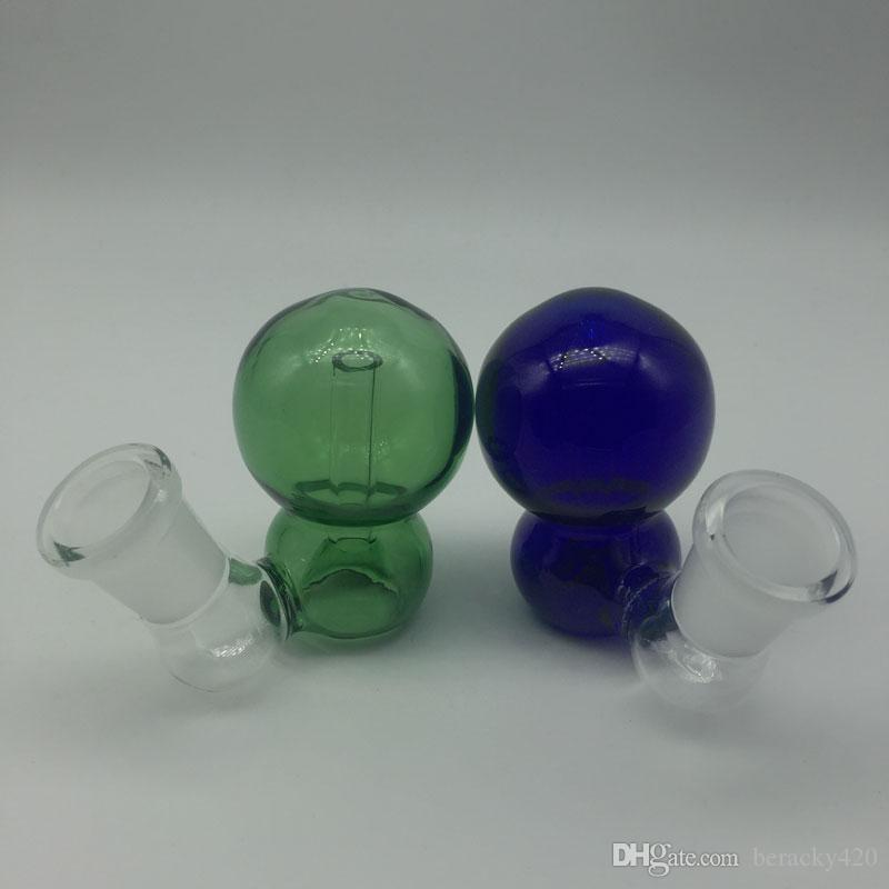 Colored Glass Ash Catcher Bowls Male Female 14mm 18mm Joint Blue/Green colors Glass Ash Catcher for Oil Rigs Glass Bongs