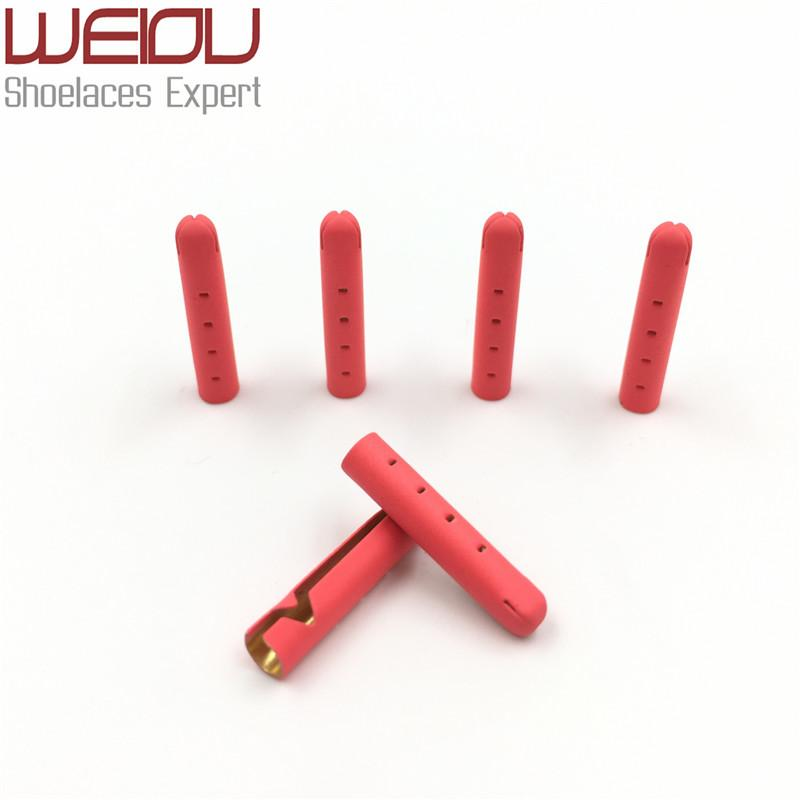 Weiou 4pcs 1 set 3.8x22mm Painting Fluorescence Red fashion Matt Metal Aglets FOR shoelaces Clothes DIY Sneaker Kits bullet Head Shoe Lace