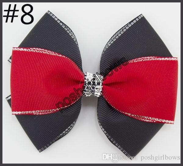 4.5''double layered hair bows silver edge Handmade rhinestone Hair Bows silver edge girl hair bows with clips