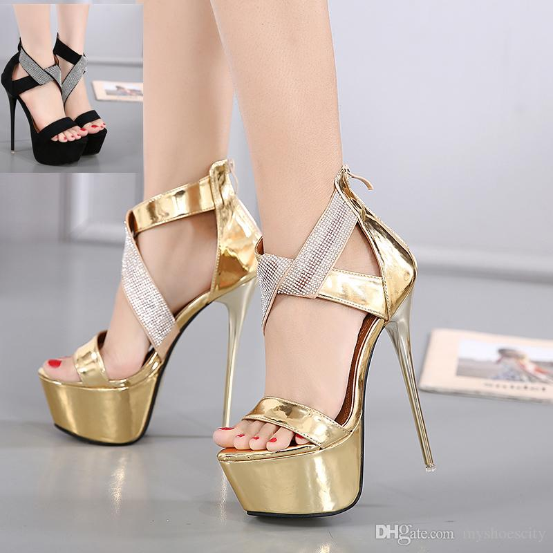 17cm Sexy Gold Black Rhinestone Super High Heels Platform Sandals ...