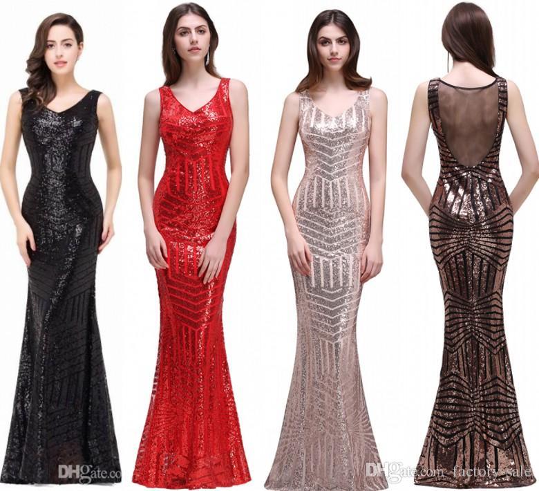 Bling Pailletten Vintage Rot Schwarz Meerjungfrau Abendkleider V-Ausschnitt Sheer Backless Sweep Zug Promi Abend Prom Kleider Real Photos CPS371