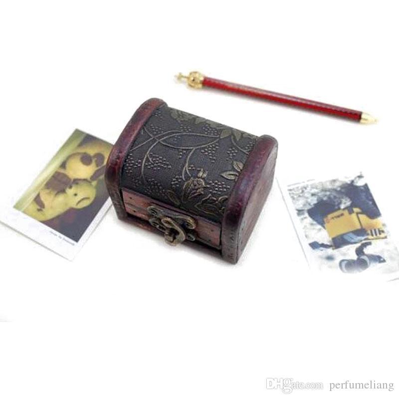 Caja de joyería de la vendimia Organizador Caja de almacenamiento Mini Patrón de flor de madera Contenedor de metal Cajas pequeñas de madera hechas a mano