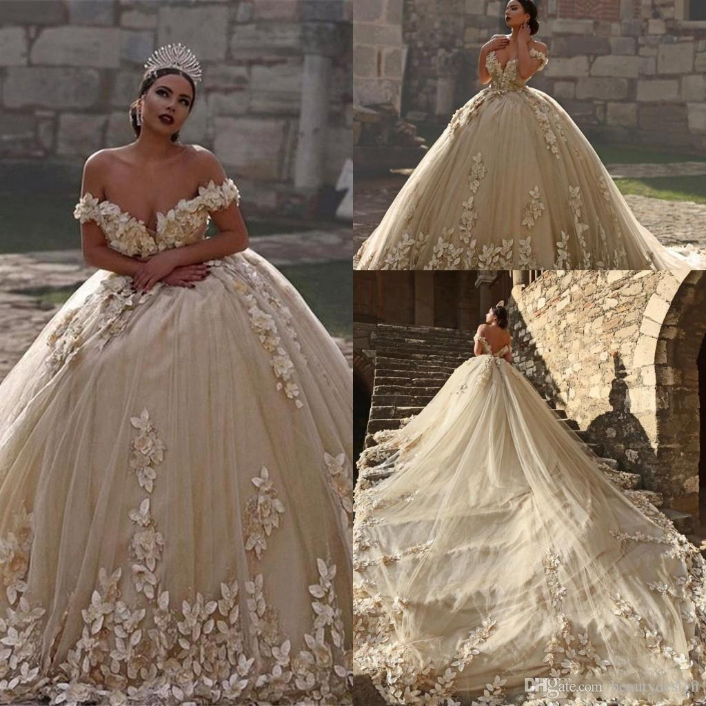 2018 Ball Gown Wedding Dresses Off Shoulder Cap Sleeves Lace Applique Beads  3D Flowers Illusion V Back Puffy Cathedral Train Bridal Gowns Wedding Dress  ... 70ca8cfeedd0