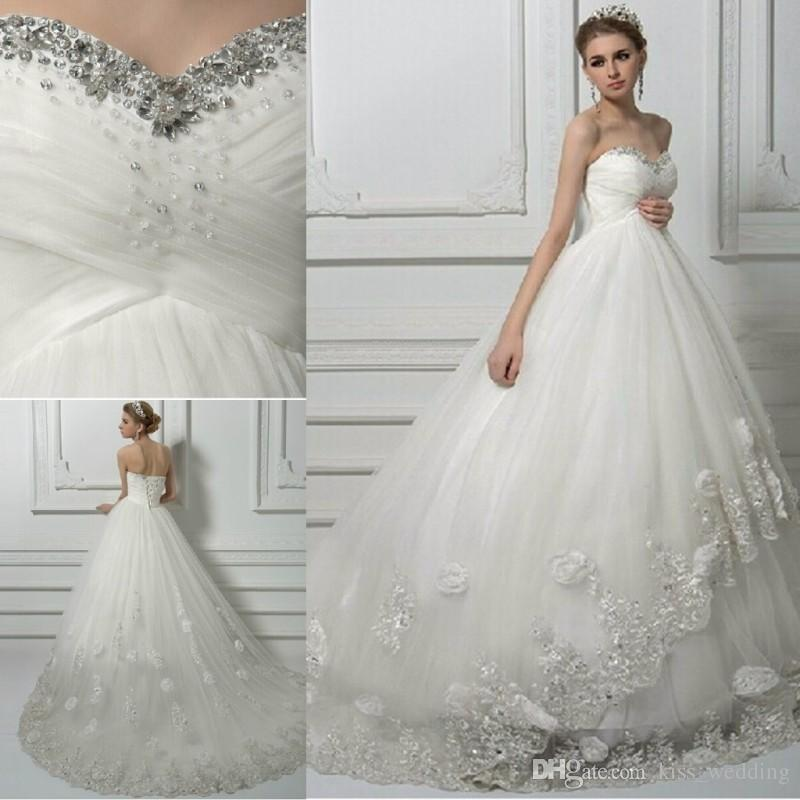 Junoesque Lace Bll Gown Wedding Dresses Bling Bling Sweetheart ...