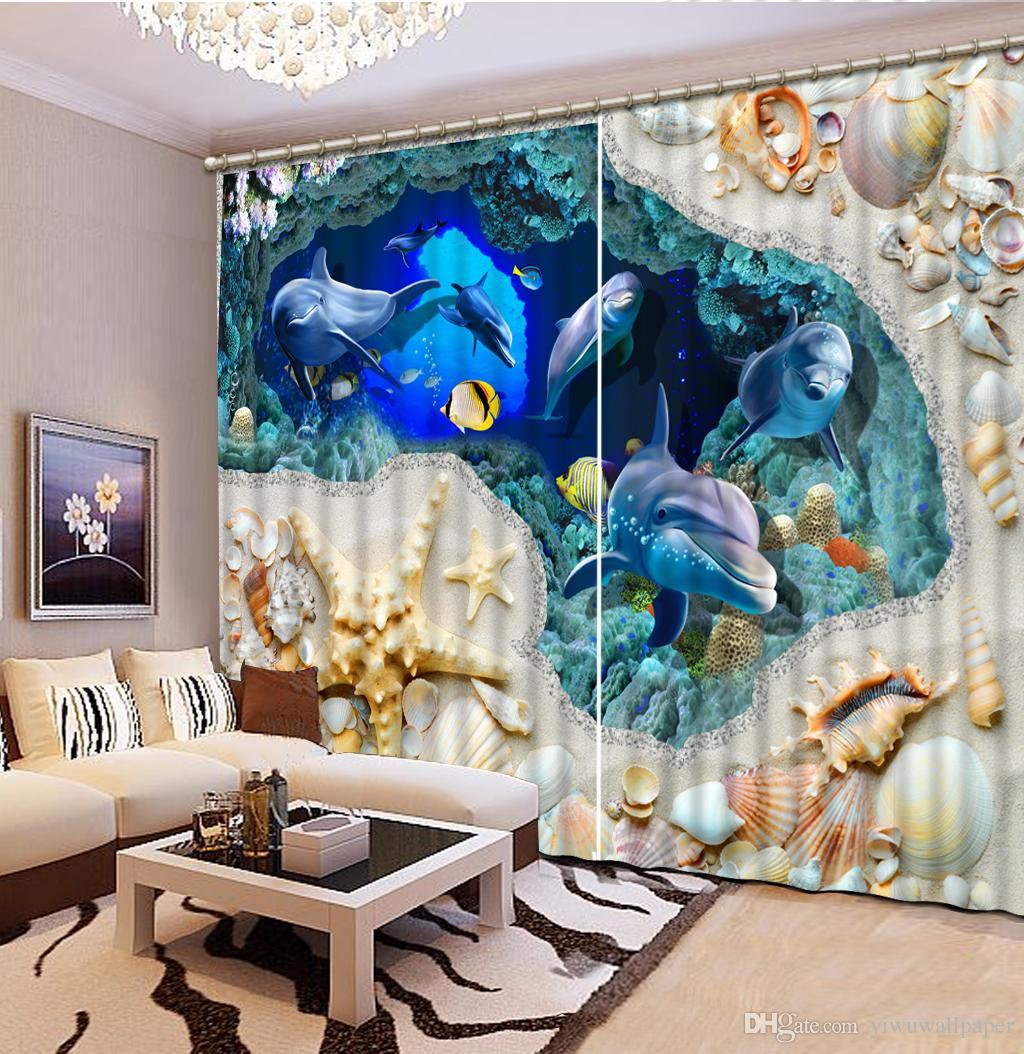 Haute qualité Personnaliser la taille moderne dauphin océan personnalisé rideau 3D fenêtre rideaux pour la salle de literie