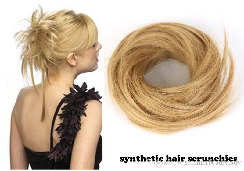 2017 New Curly Fake Hair Chignon Synthetic Hair Scrunchies Hair Piece Messy  Bun Updo Elastic Hairpieces Band For Women Pretty Hair Clips Pretty Hair ... 136084f6fa9