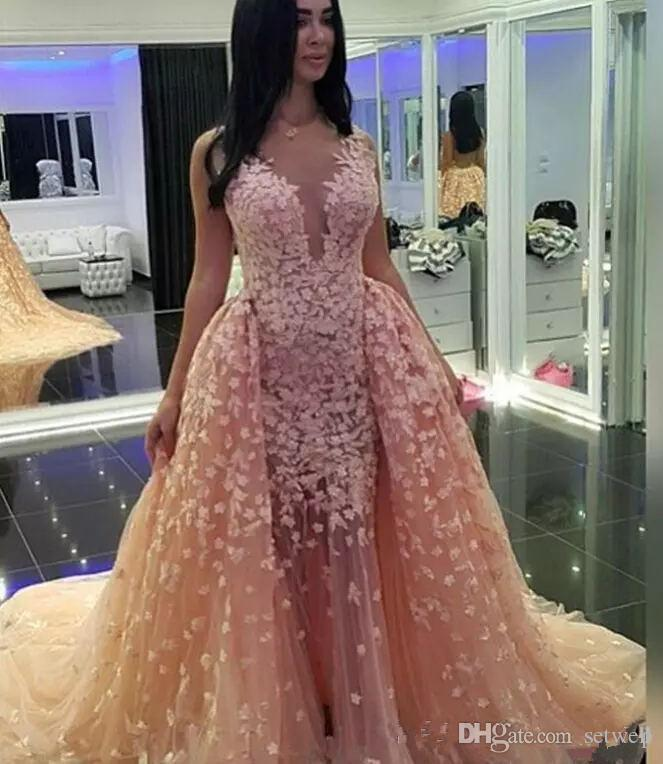 New Zuhair Murad Abendkleider Spitze Backless Abendkleid Eine Linie Illusion V-ausschnitt Sweep Zug Celebrity Party Kleider Nach Maß