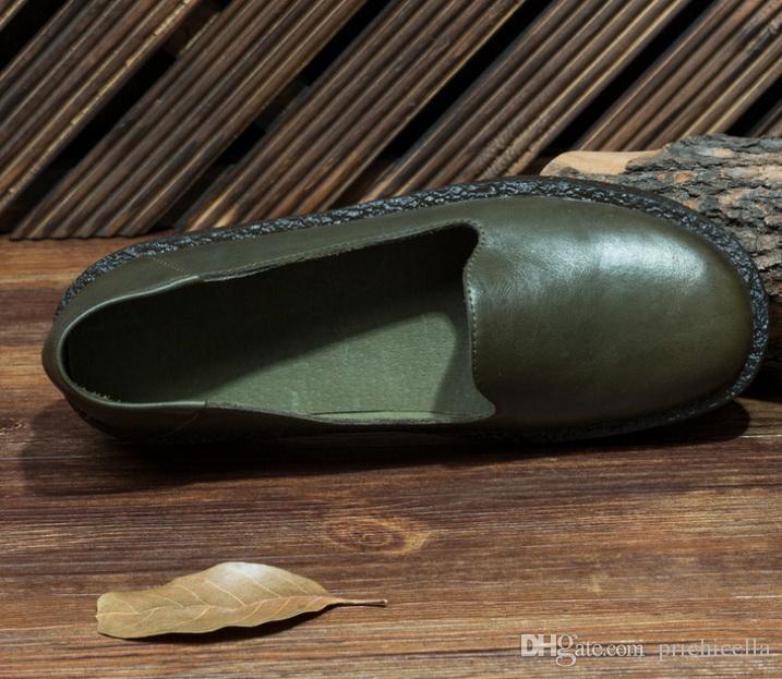 Großhandelsdrop shipping echtes Lederfrauen handgemachtes ledernes flaches Beleg auf Schuhen grünen braunen Bootsschuhen size35-40