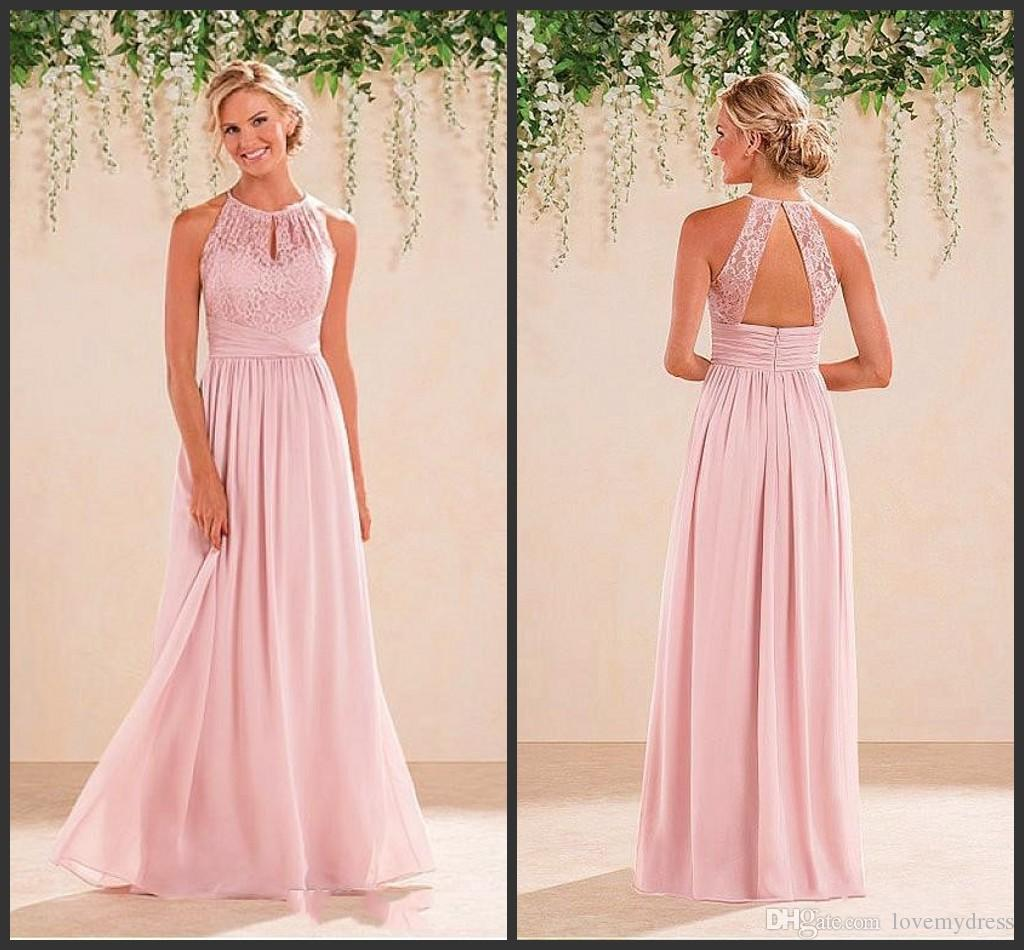 Halter Neck Bridesmaid Dress Cheap Price Lace Formal Wear