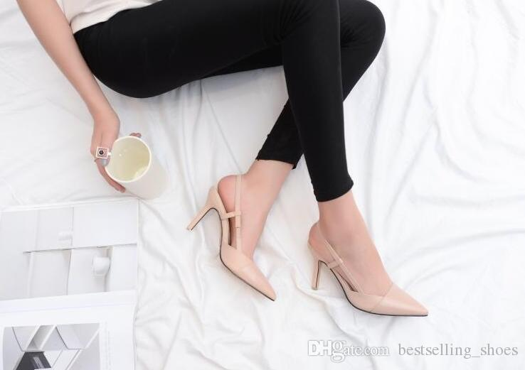 Korean version high-heeled sandals 2017 new arrival fashio black and white wild buckle summer sandals for banquet and party
