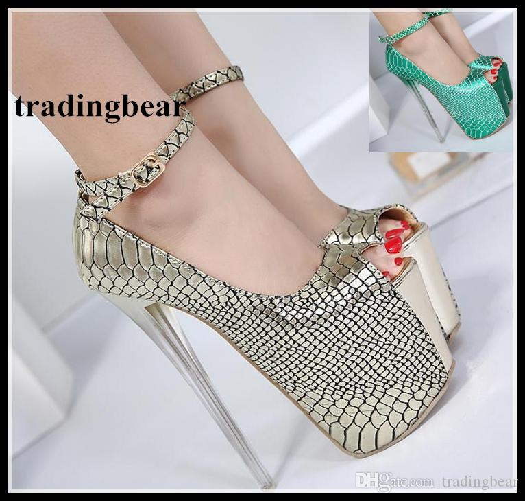 18cm Sexy Ankle Strap Ultra High Heels Gold Peep Toe Pumps Christmas Party  Prom Nightclub Wear Size 35 To 40 Summer Shoes Womens Loafers From  Tradingbear cd9d85bdb901