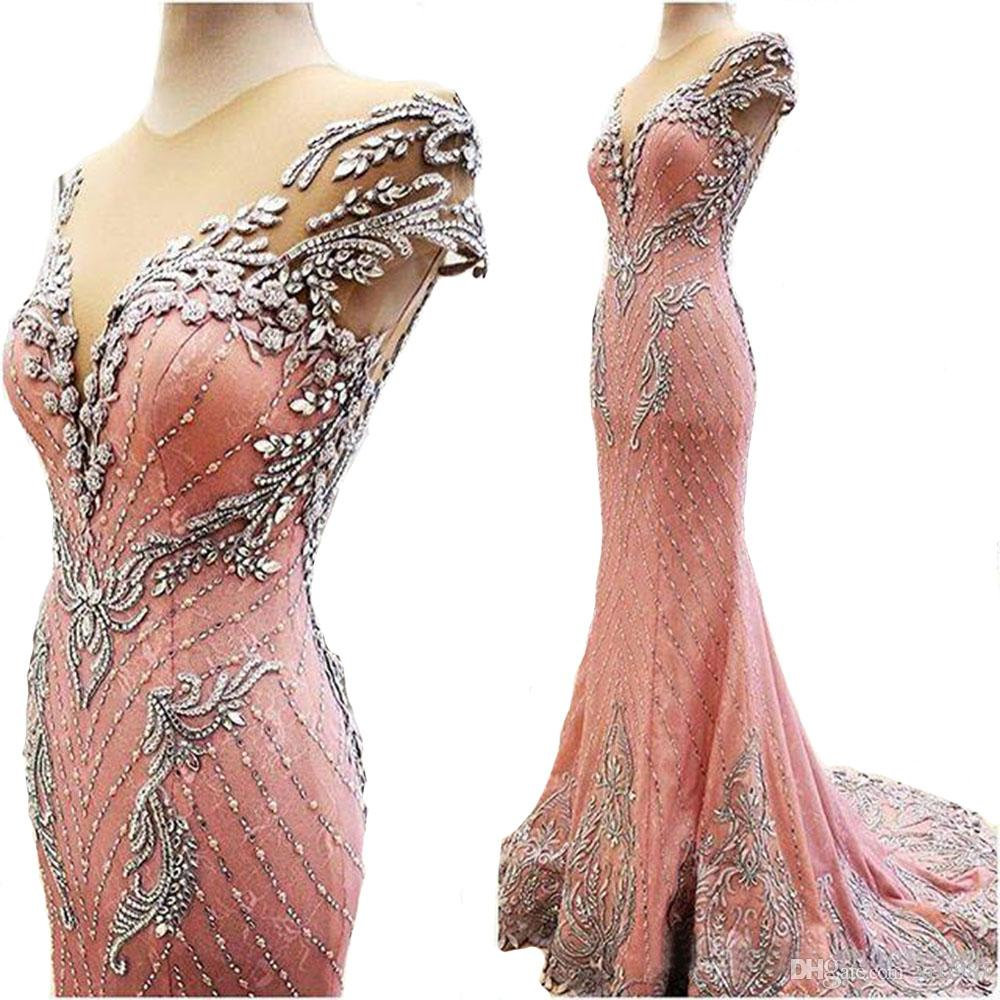 The Best High quality Coral Pink Mermaid Evening Dresses 2018 vestidos de noiva Formal Prom Gowns Free Shipping evening dress