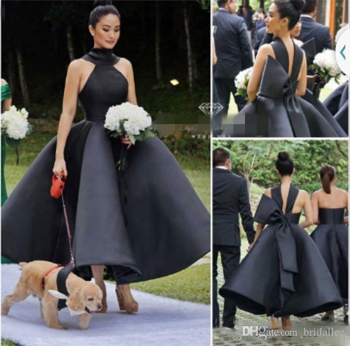 Małe Czarne Suknie 2018 New Arrival Seksowna Suknia Balowa Wysoka Neck Bez Rękawów Big Bow Off Formalna Formalna Suknia Wieczorowa Party Suknie