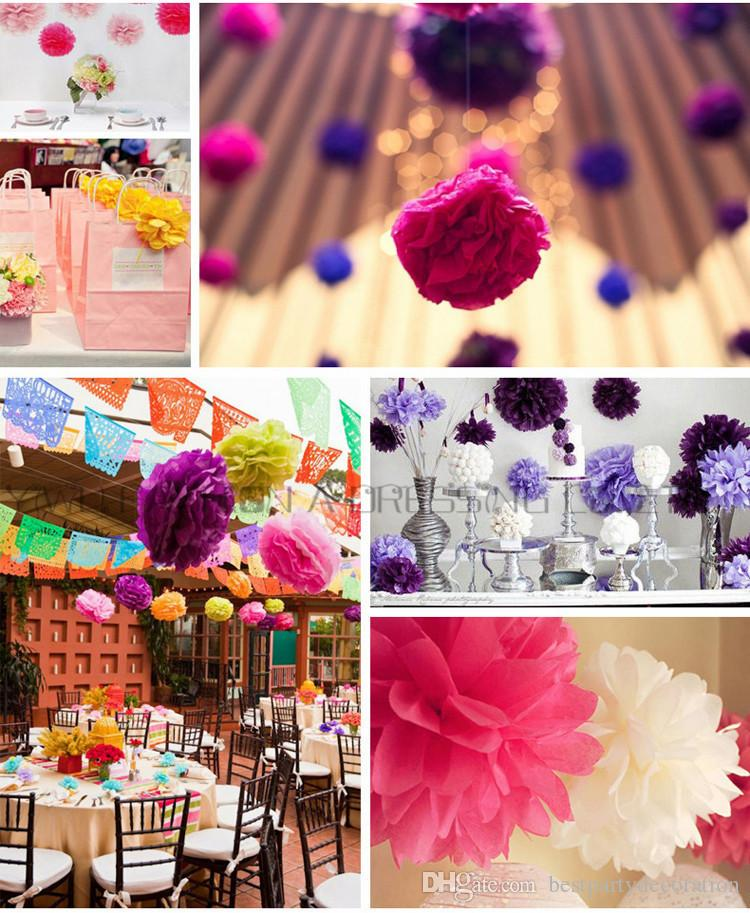 Cheap Wedding Decorations Paper Pom Poms 15cm Flower Balls For Party Decorations With Fast Ship In Wholesale Price With Mixed Colors