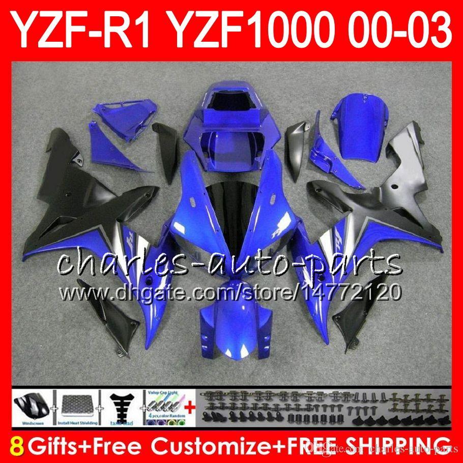 8Gift Cuerpo para YAMAHA YZF R1 YZF 1000 YZFR1 02 03 00 01 62HM18 azul negro YZF1000 R 1 YZF-R1000 YZF-R1 2002 2003 2000 2001 Carenado