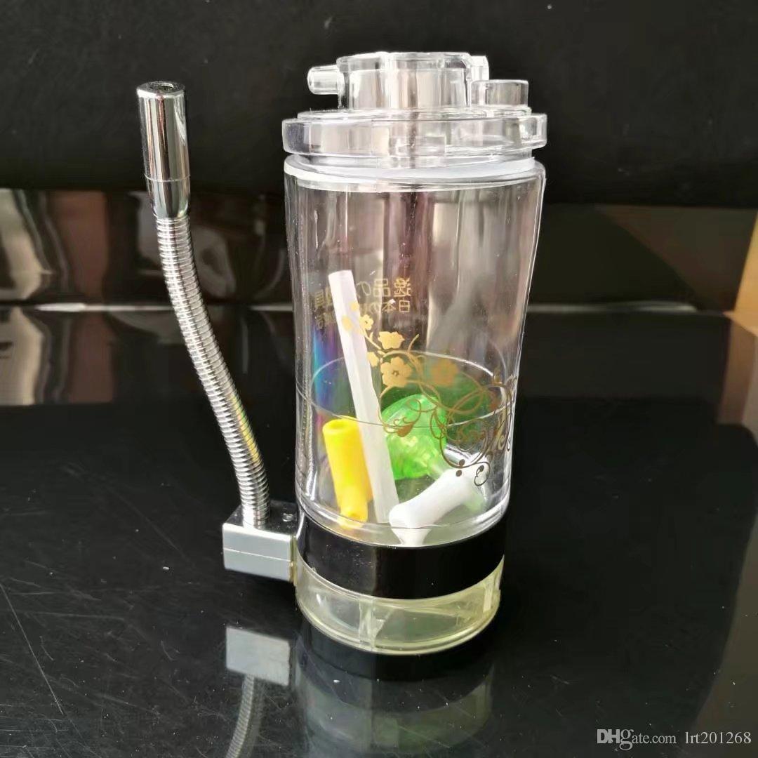 Acrílico com pote de lâmpada de álcool, New Unique Bongos De Vidro Tubos De Vidro Tubulações De Água Hookah Oil Rigs Fumo com Droppe