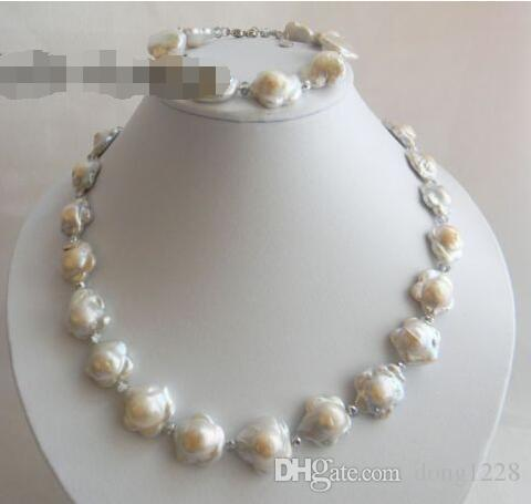 White Baroque Reborn Freshwater Pearl Necklace Bracelet Set