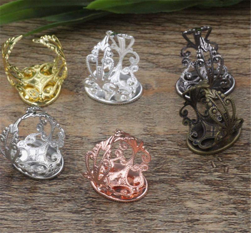 BoYuTe i placcato anello regolabile vuoto castone vassoio 13 * 18mm ovale cabochon impostazione base fai da te monili che fanno materiale