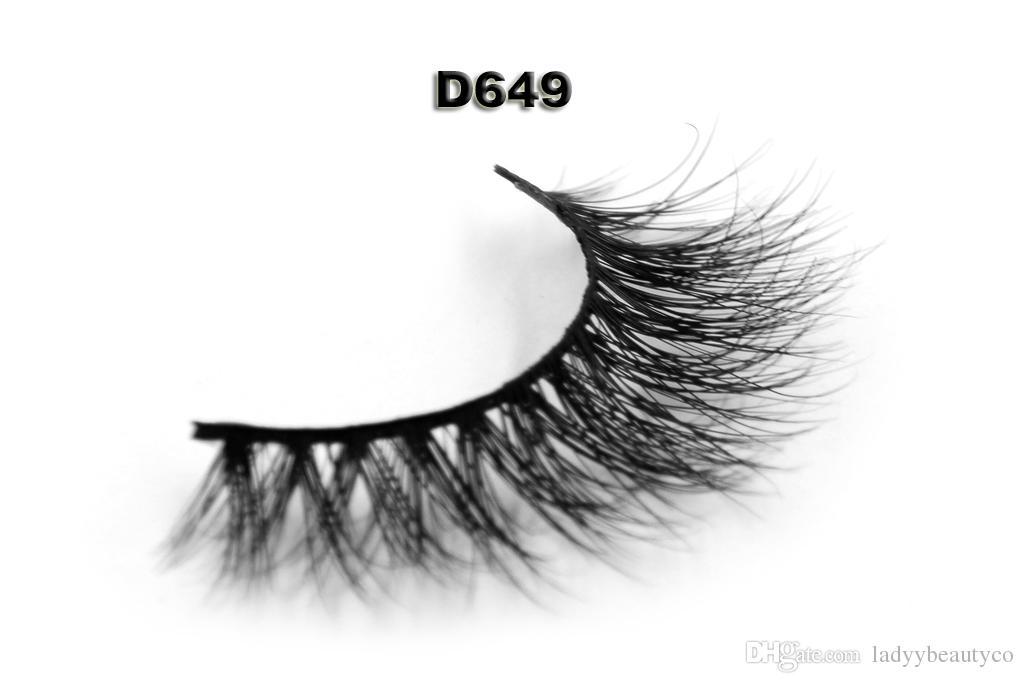 D649 3D mink hair eyelashes 100% Real Siberian 3D Mink Full Strip False Eyelash premium 100% real siberian mink strip eyelashes