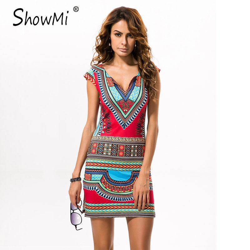 0f9675541143b Wholesale- ShowMi 2017 Short V-neck Sexy African Dresses for Women ...