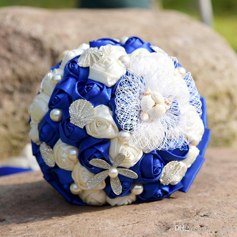 Jane Vini Royal Blue And White Beach Wedding Bridal Bouquet With Shell Pearls Lace Satin Roses Holding Flowers Bride Brooch Bouquet Mariage