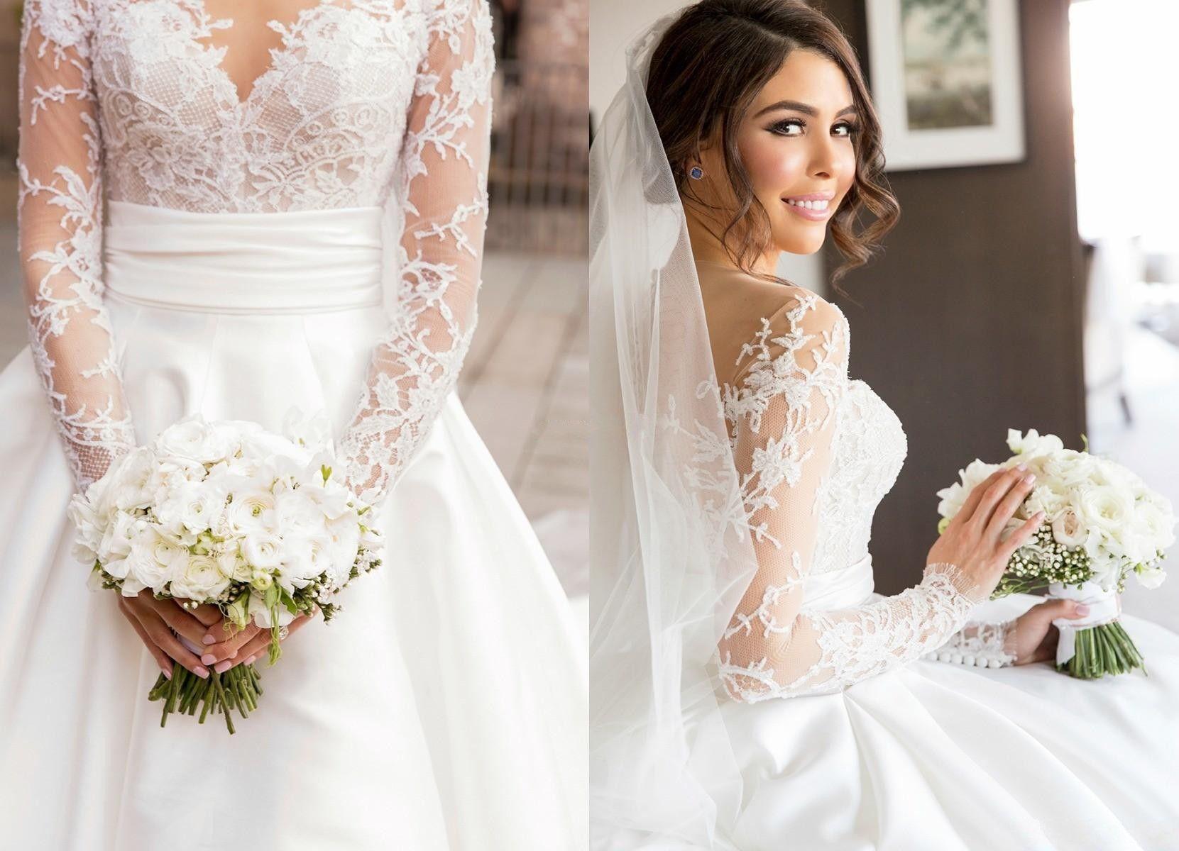 Steven Khalil Full Lace Split Mermaid Wedding Dresses with Detachable Train Two Pieces Long Sleeve Illusion Back Arabic Trumpet Bridal Gowns