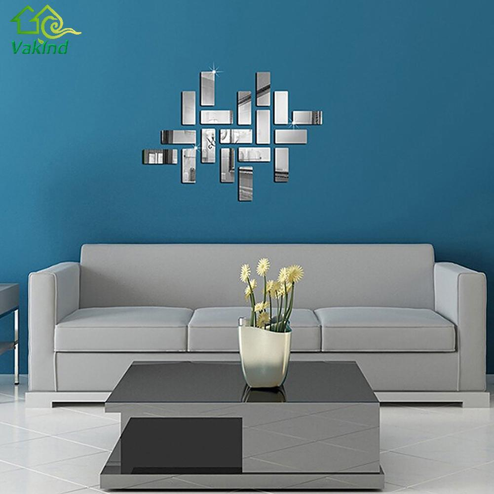 silvery mosaic decal square 3d crystal mosaic mirror wall stickers see larger image