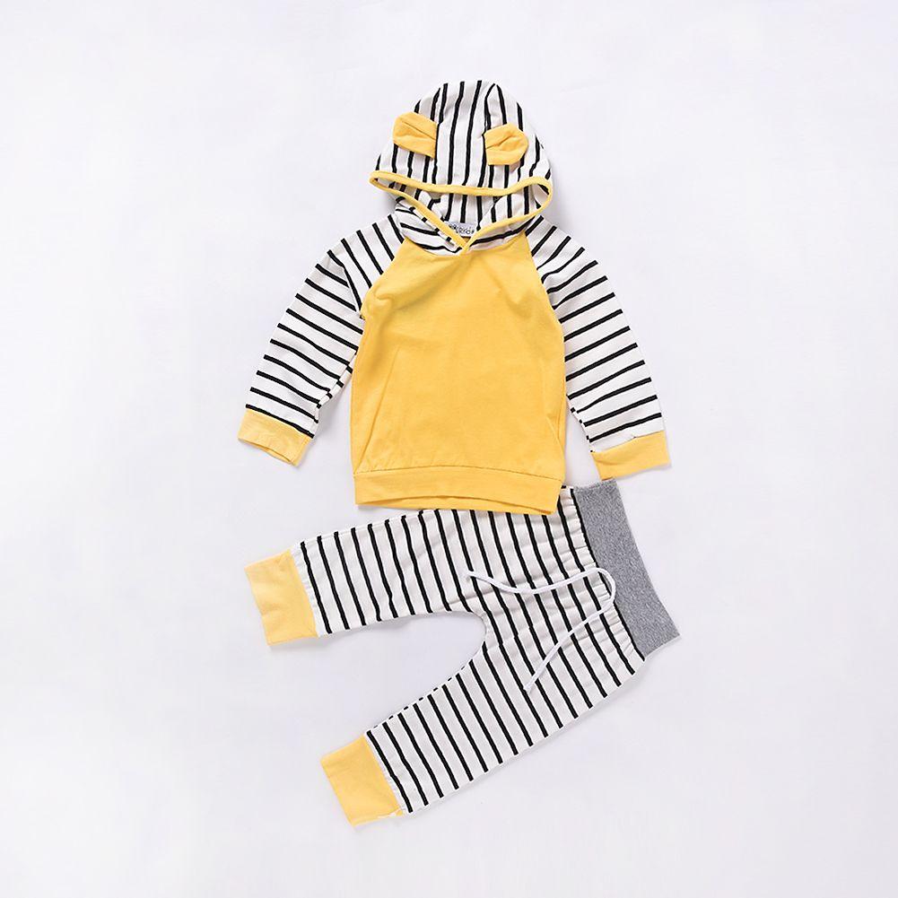 Mikrdoo Baby Boy Girl Abbigliamento casual Felpe con cappuccio giallo Pantaloni a righe Tuta da bambino in cotone Bambino O-Collo Felpa con cappuccio Abbigliamento manica lunga Infantil Top