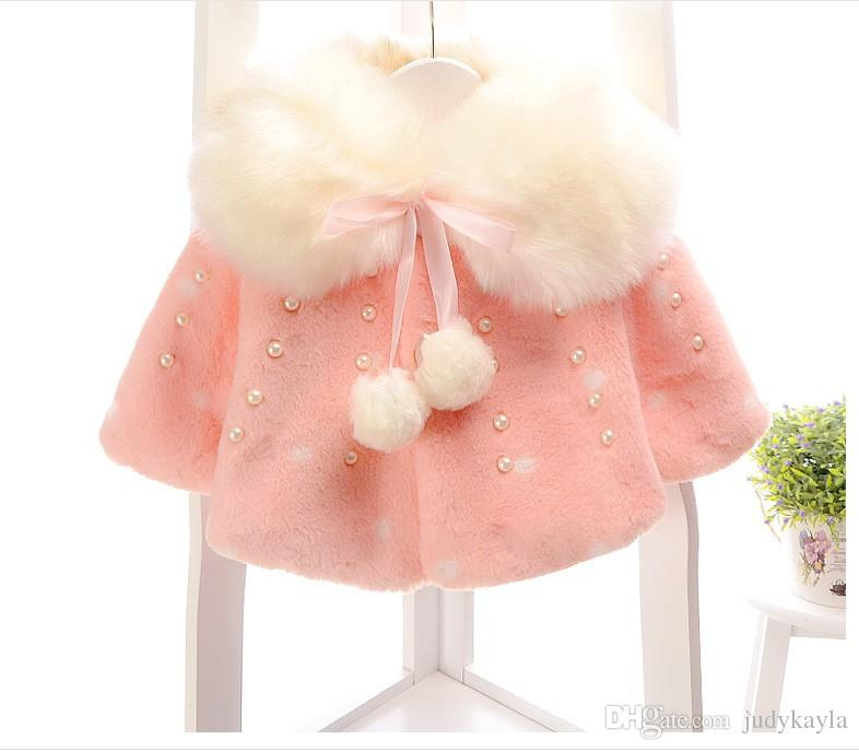 2017 Spring Winter Girls Poncho Baby Girl Fur Collar Shawl Outwear Cute Kids Cape With Inlaid Pearl For 0-4 Years Baby
