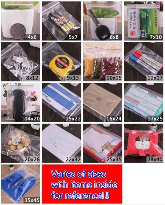 / 4 * 6cm 5 * 7cm 6 * 8cm 7 * 10cm * 12cm 8 9 * 13cm Klar wiederverschließbaren Plastiktüten PE Zip-Verschluss Food Storage Taschen Schmuck Ringe Ohrringe Taschen
