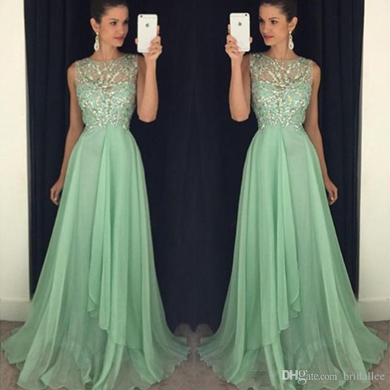 Sparkly Mint Green Prom Dresses Long Formal Sheer Neck Sleeveless Beaded Crystals Top Chiffon Evening Party Gowns Sweep Train