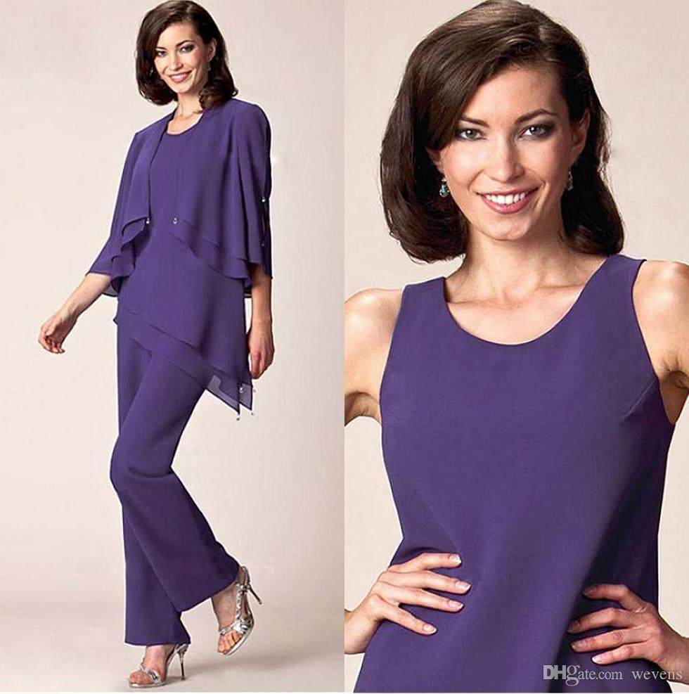 Purple Three Pieces Mother Of The Bride Pant Suits For Wedding Jewel
