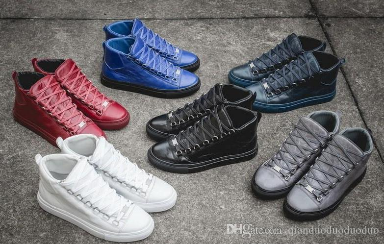 Herrenmode Arena High-Top Bovine Hautfalte knacken Leder schnüren oben Schuhe französische Stil Turnschuhe Kanye West Schuhe